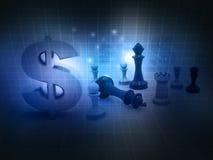 Szachowa gra i dolarowy znak Obrazy Stock