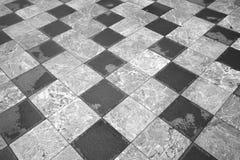 Szachowa podłoga abstrakcjonistycznego tła czerń dynamiczni kwadraty biały tła czarny karcianego projekta kwiatu fractal dobrego  Obraz Stock