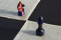 Szachowa postać Brytania i Zlany Europa zdjęcia stock