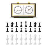 Szachowej deski i bierka czasu wolnego pojęcia rycerza wektorowej grupy kawałek rywalizacja biała i czarna ilustracji