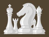 Szachowej deski i bierka czasu wolnego pojęcia rycerza wektorowej grupy kawałka biała rywalizacja ilustracja wektor