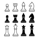 Szachowi kawałki Wliczając królewiątko królowej gawronu pionka rycerza Zdjęcia Royalty Free