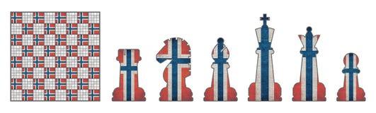 Szachowi kawałki z Norwegia flaga Obraz Stock