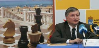 Szachowy grandmaster Anatoly Karpov w Mallorca fotografia royalty free
