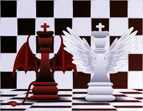 Szachowy królewiątko anioł, diabeł i Zdjęcie Stock