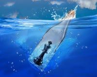 Szachowy królewiątko w butelce Zdjęcia Stock