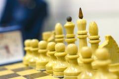 Szachowy turniej, część mistrzostwo na inteligenci, rywalizacja, gra planszowa Zdjęcie Stock