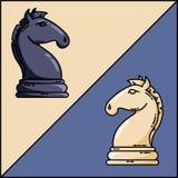 Szachowych czarny i biały rycerzy wektorowy płaski wektorowy wizerunek ilustracji