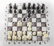 szachy Biała deska z szachy postaciami na nim Obraz Royalty Free