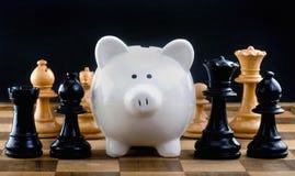 Szachy i pieniądze Fotografia Stock