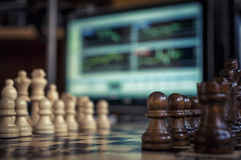 Szachy i rynki walutowi Fotografia Royalty Free