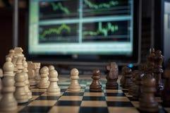 Szachy i rynki walutowi Zdjęcie Royalty Free