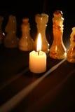 Szachy I świeczka Zdjęcia Royalty Free