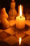 Szachy I świeczka Fotografia Royalty Free
