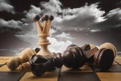 Szachy królowa wygrywa zwycięstwo nad grze Zdjęcie Stock
