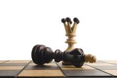 Szachy królowa wygrywa zwycięstwo nad grze Fotografia Royalty Free