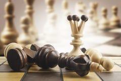 Szachy królowa wygrywa zwycięstwo nad grze Obrazy Stock