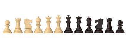 Szachy postacie ustawiają czarny i biały Zdjęcia Stock