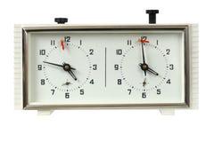Szachy zegar na bielu zdjęcia stock