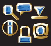szafirowe złociste klejnot ikony Ilustracji