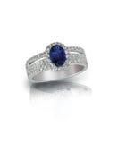 Szafirowy diamentowy pierścionek fotografia royalty free
