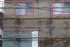 Szafot struktury betonowej ściany fasady domu powierzchowności naprawy cement Obrazy Royalty Free