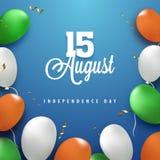 Szafranu, bielu i zieleni balony na błękitnym tle, 15th Augus Obraz Stock