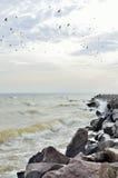 Szaleje przy morzem w chmurnej pogodzie w jesieni Zdjęcie Royalty Free