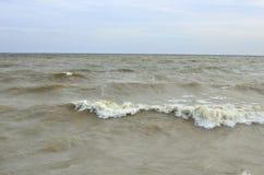 Szaleje przy morzem w chmurnej pogodzie w jesieni Obrazy Stock