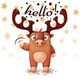 Szaleni, śmieszni, śliczni, papierowi jeleni charaktery, ilustracja wektor
