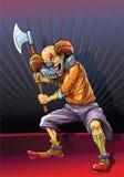 Szalenie błazenu zabójca z cioską ilustracja wektor