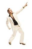Szalenie dyskoteka tancerz w białych kostiumu i węża rzemiennych butach Obrazy Royalty Free