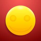 Szalenie glansowany smiley na textured, czerwonym tle, Fotografia Royalty Free