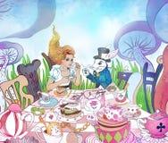 Szalenie Herbaciany przyjęcie Alice ` s przygody w krainy cudów ilustraci GI Fotografia Stock