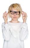Szalenie kobieta odizolowywająca na biały tle Zdjęcie Stock