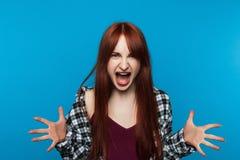 Szalenie krzycząca kobieta Furii emocja Obraz Royalty Free
