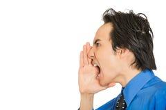 Szalenie nierad sikam daleko gniewny gderliwy korporacyjny mężczyzna krzyczeć Obraz Stock