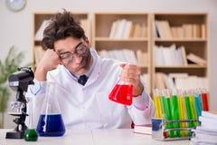 Szalenie szalonego naukowa doktorski robić eksperymentuje w laboratorium Fotografia Royalty Free