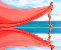 szalik czerwona kobieta fotografia stock