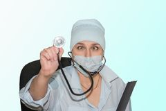 Szalona lekarka z stetoskopem zdjęcia royalty free