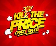 Szalona oferta, zabija cena środka wybuchowego sztandar ilustracja wektor