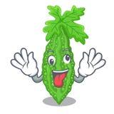 Szalonego momordica gorzki melon na bonkrety kreskówce ilustracja wektor