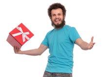 Szalony brodaty mężczyzna - wakacje pojęcie fotografia stock