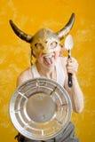 szalony człowiek stara kasku Wiking Zdjęcie Royalty Free
