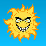 Szalony kreskówki słońce ilustracji