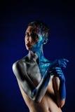 Szalony Krzyczący androgyne mężczyzna z twarzy sztuką pusty tekst Agg Obraz Royalty Free