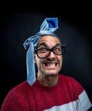 Szalony mężczyzna z krawatem na jego głowie, korporacyjny przyjęcie Zdjęcia Royalty Free