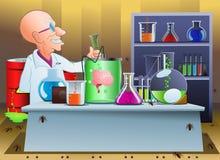 Szalony naukowiec na laboratorium Zdjęcie Royalty Free