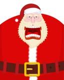 Szalony Santa krzyk, pasek i Straszny dziadu wrzeszczeć Otwiera mout Zdjęcie Stock
