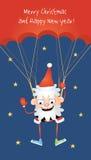 Szalony Santa parachutist royalty ilustracja